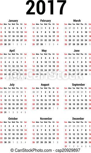 2017 Calendar Clip Art : カレンダー 年間 2015 : カレンダー