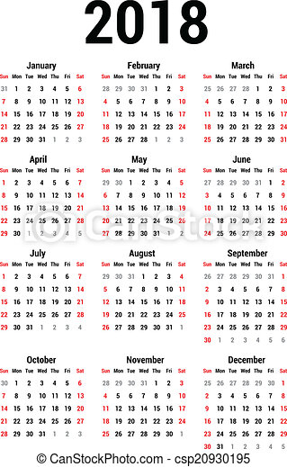 2018 Calendar Icon Clip Art