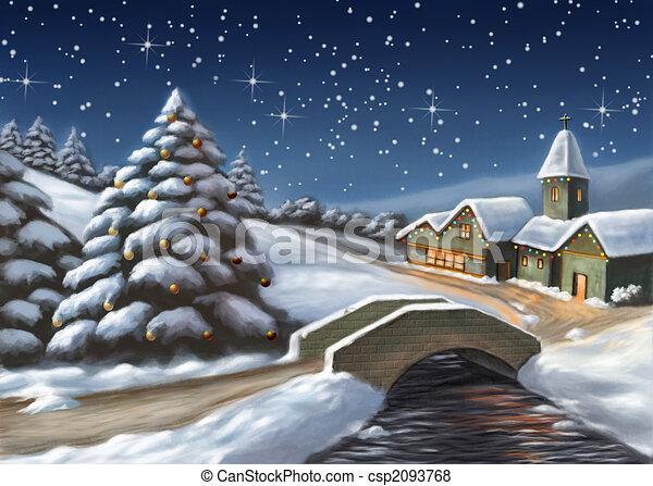 Illustration de no l paysage enchant no l paysage - Paysage de noel dessin ...