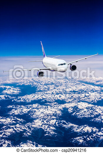 Landscape of Mountain. Airplane in the sky  - csp20941216