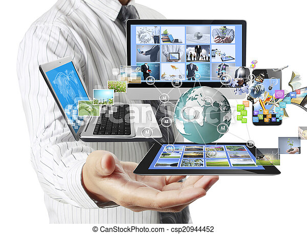 Technology in the hands  - csp20944452