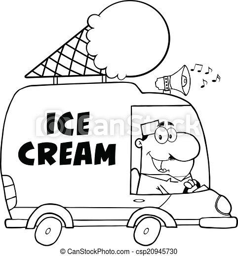 black and white happy ice cream man csp20945730