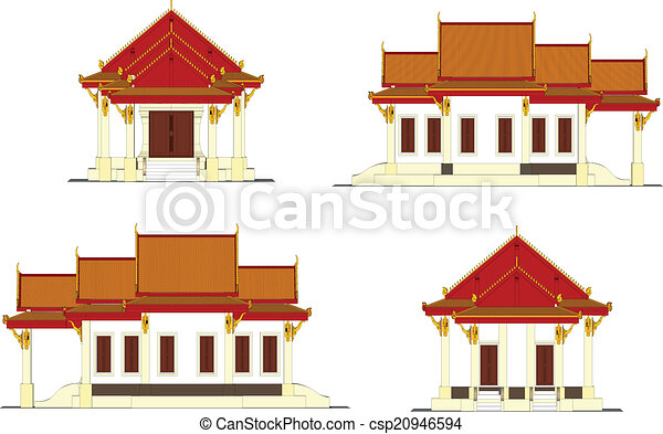 Eps vectors of wat thai temple in thailand for Free thai house plans
