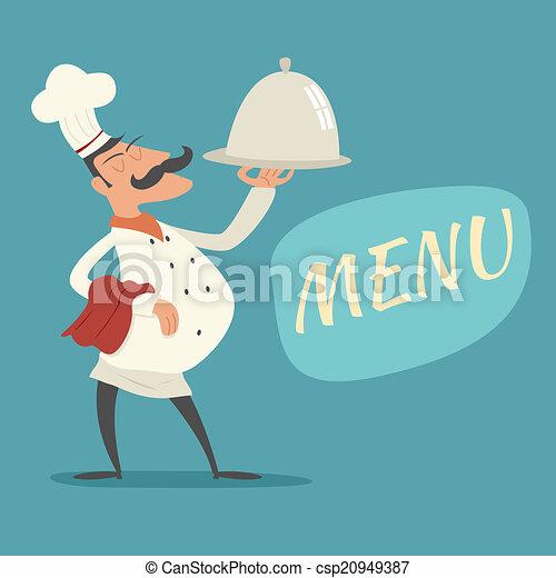 矢量-葡萄收获期, 负责人, 烹调, 服务, 盘, 符号, 舌头, 烹饪, 帽子