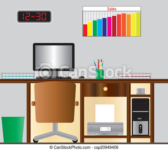 Vector Clipart Of Computer Desk An Office Desk With