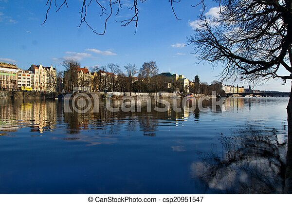 Prague and its old houses, Vltava river and bridges - csp20951547