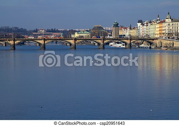 Prague and its old houses, Vltava river and bridges - csp20951643