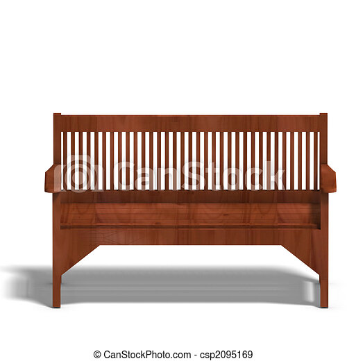 Stock Illustration of park bench - wooden park bench. 3D render and ...