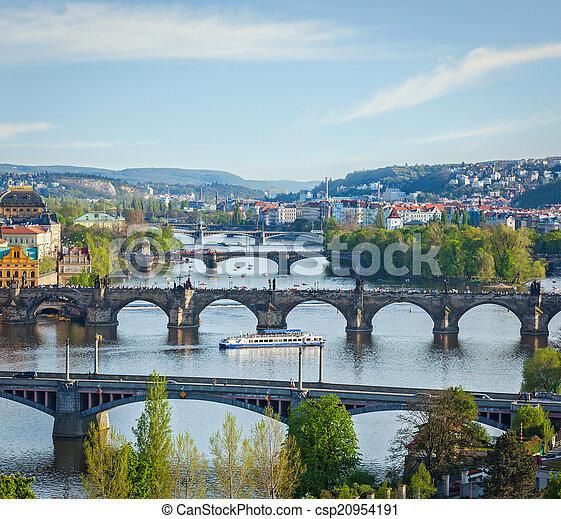 Panoramic view of Prague bridges over Vltava river from Letná P - csp20954191