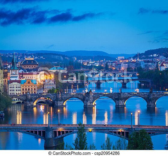 Panoramic view of Prague bridges over Vltava river from Letná P - csp20954286