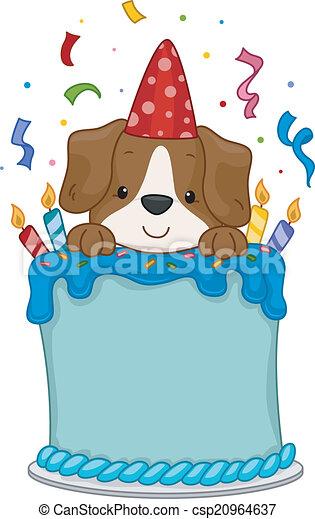 Vectors of Dog Birthday Cake - Illustration of a Cute Dog ...