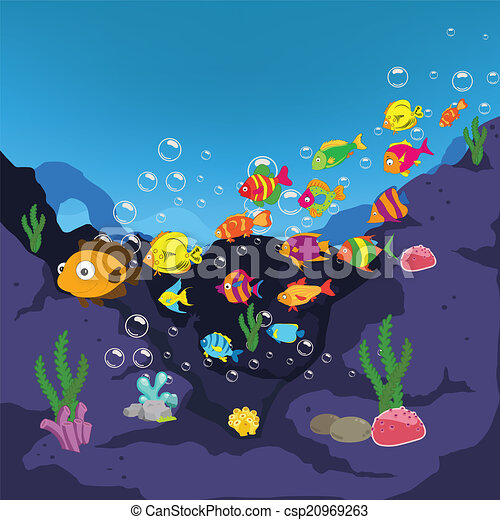 Family Of Funny Fish Under The Sea 20969263