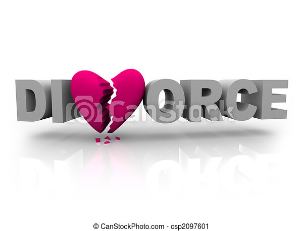 Divorce - Word with Broken Heart - csp2097601