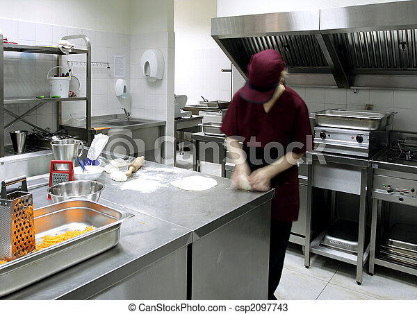 Preparing pastry in a restaurant kitchen - csp2097743