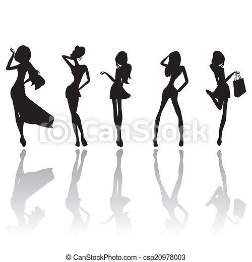 girls silhouettes - csp20978003