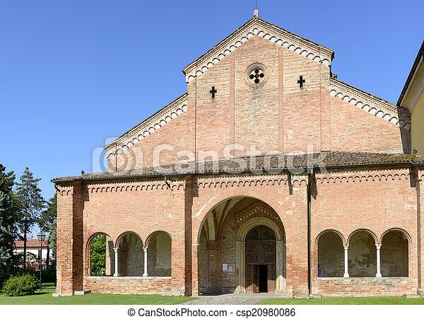 narthex and church facade, Abbadia Cerreto - csp20980086