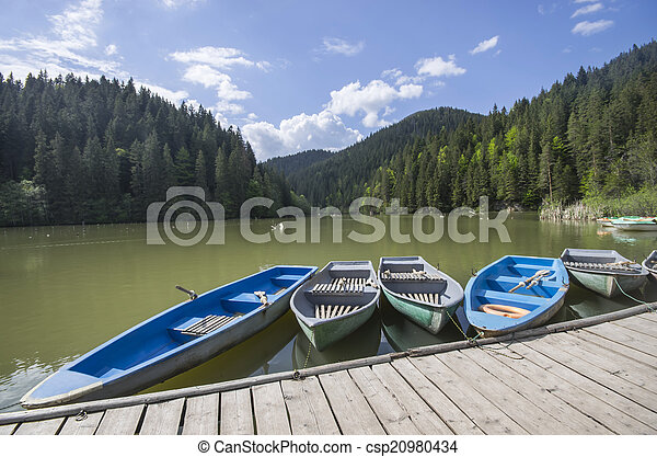 Boat docks on lake