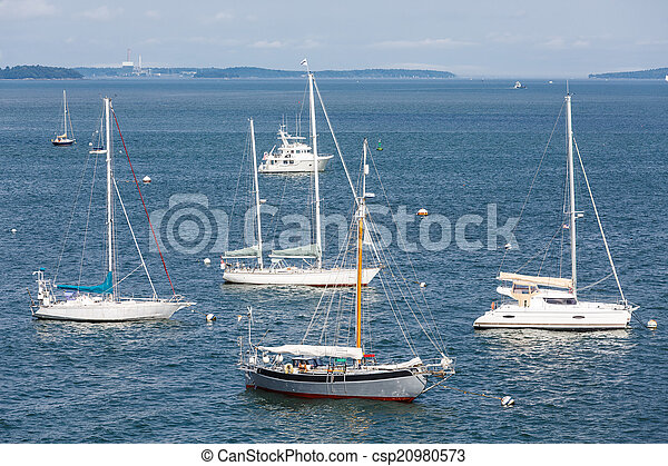 Sailboats and Cabin Cruiser on Blue - csp20980573