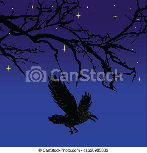 Scary Birds Drawing Dark Crow Bird Flying Over