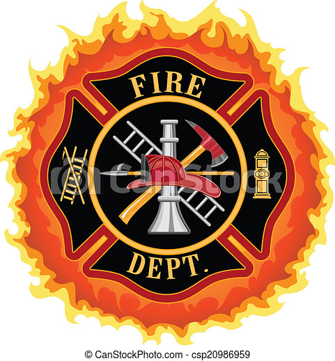 Clipart Vector of Firefighter Cross With Flames - Fire department ...