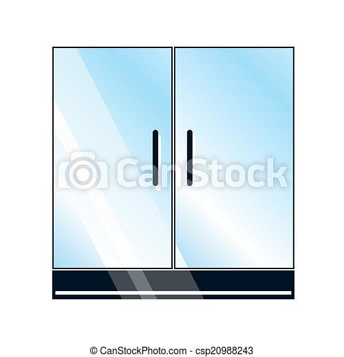 Glass Doors Clipart eps vector of glass doors on white background - doors, glass