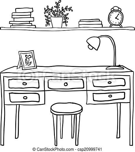 Vettore - illustrato, Mensola, vettore, LIBRI, scrivania - archivi di ...