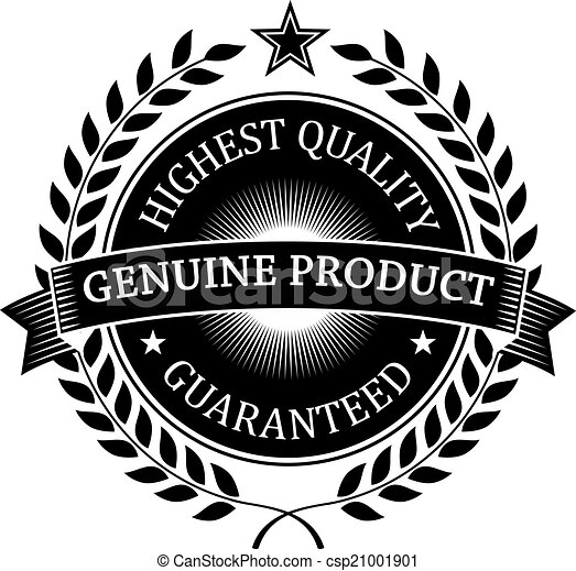 Vector  Highest Quality Guaranteed Genuine label  stock illustration