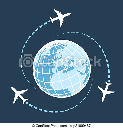 Traveling around the world by air transport - csp21009467