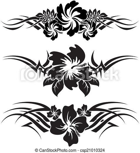 Illustration vecteur de hibiscus 6 a trio de noir - Dessin de fleur en noir et blanc ...