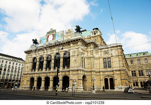 Building with statues on top in Vienna - csp2101239