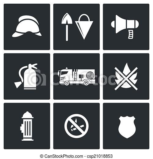 Fire Department Service icons set - csp21018853