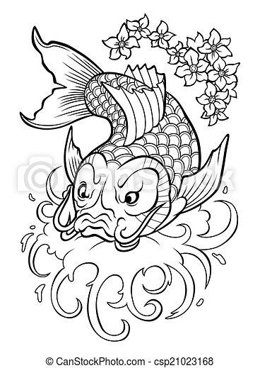 kliparty wektorowe koi karp tradycyjny japonia fish koi karp w woda csp21023168. Black Bedroom Furniture Sets. Home Design Ideas