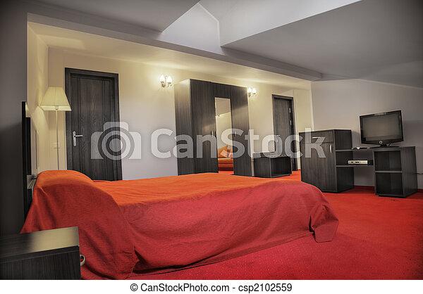Stock Fotografieken van hotel, slaapkamer, Kleuren, rood, grijze, lege ...