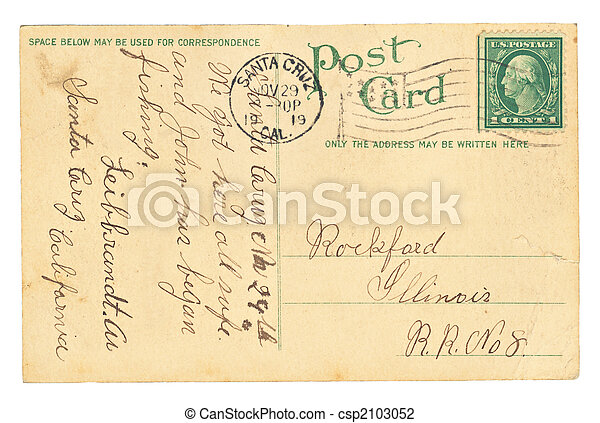 Vintage Postcard With Writing - csp2103052