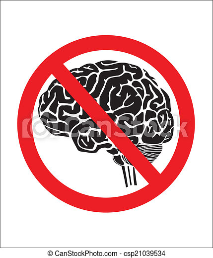 vectors of no thinking sign with brain csp21039534 Retro Woman Thinking Clip Art Man Thinking Clip Art