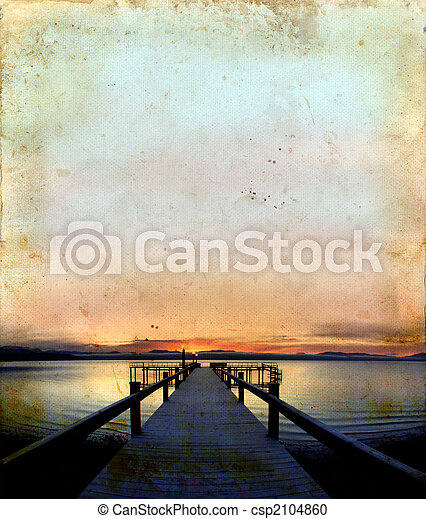 Sunrise on Dock Grunge Background - csp2104860