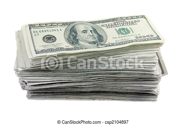 Stack of 100 Dollar Bills - csp2104897