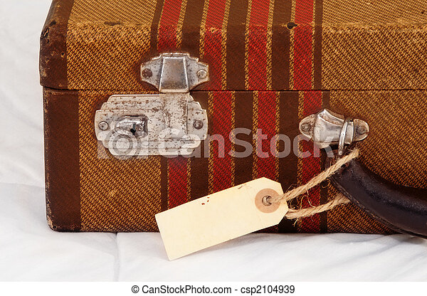 Vintage Suitcase with Blank Tag - csp2104939