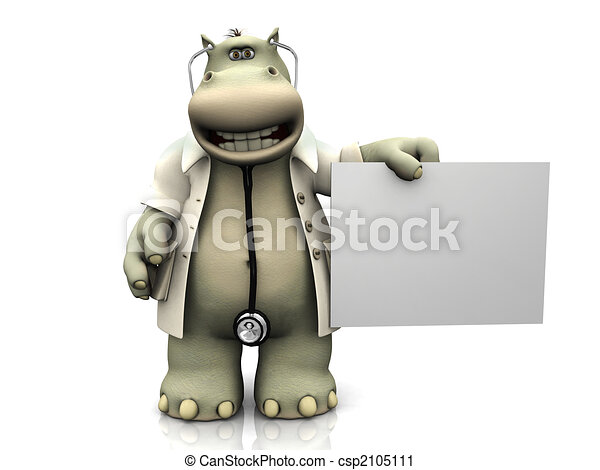 Cartoon hippo doctor with sign. - csp2105111