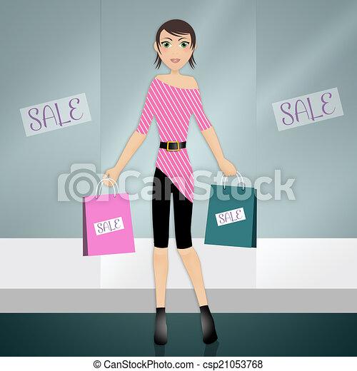 stock illustration von frau shoppen geht ein abbildung von a frau geht csp21053768. Black Bedroom Furniture Sets. Home Design Ideas
