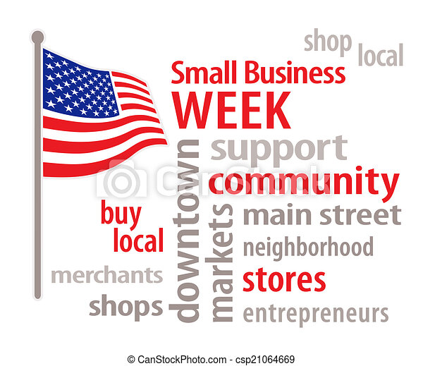 Clip Art Vector of Small Business Week, USA Flag - National Small ...