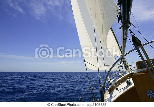 Sailboat sailing blue sea on sunny summer day - csp2106888