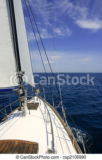 Sailboat sailing blue sea on sunny summer day - csp2106990