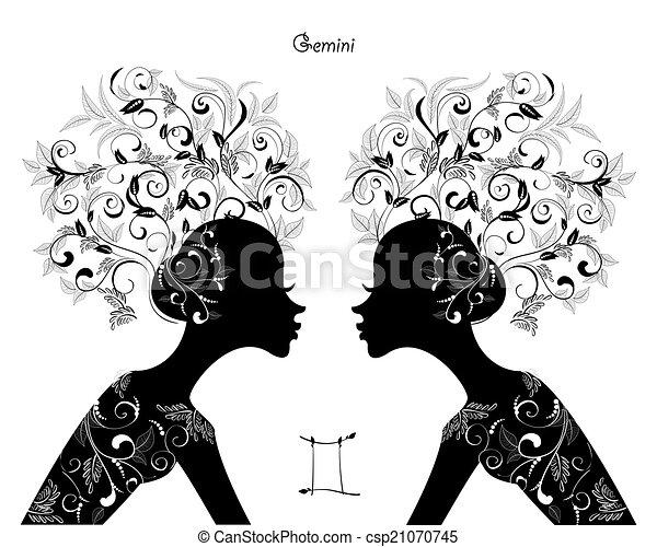 EPS Vector of Zodiac sign gemini. fashion girl csp21887441 ...