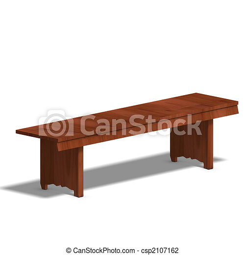Clip Art of park bench - wooden park bench. 3D render and ...