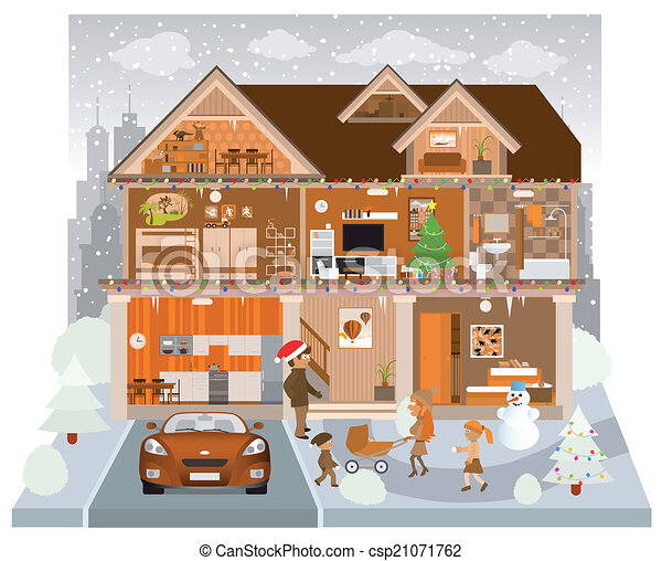 Clip art vector of inside the house winter vector illustration of the csp21071762 - Inside home image ...