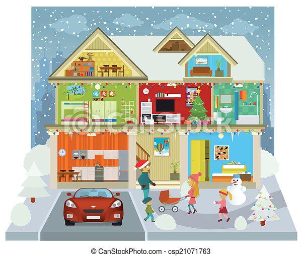 Clip Art Vector of Inside the house (Winter) - Vector illustration ...