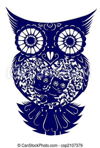 paper-cut of  owl - csp2107379