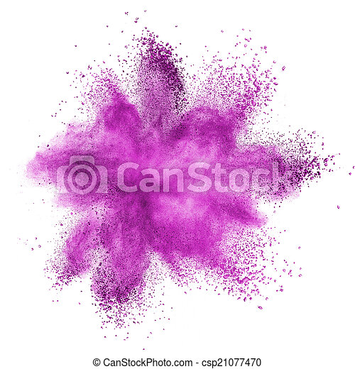 Pink powder explosion isolated on white - csp21077470