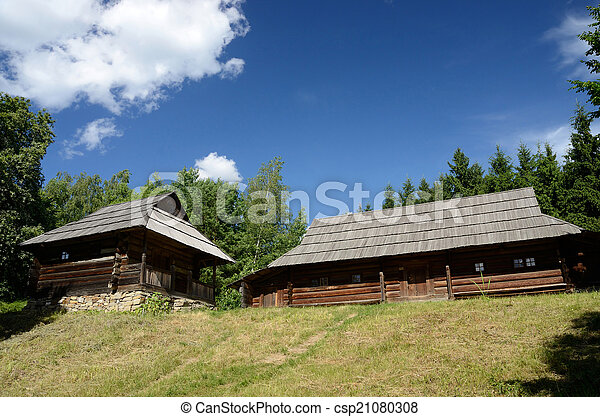 Old wooden houses from Carpathian mountains Ukraine - csp21080308
